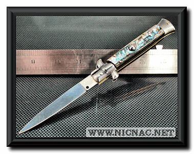 italian stiletto switchblade knife flat grind blade abalon