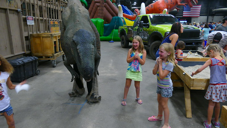 Savannah and Elee Hanging with a Dinosaur