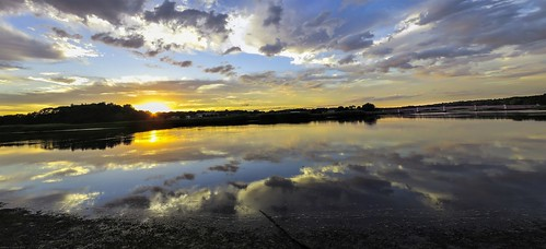 sunset sky bridge clouds