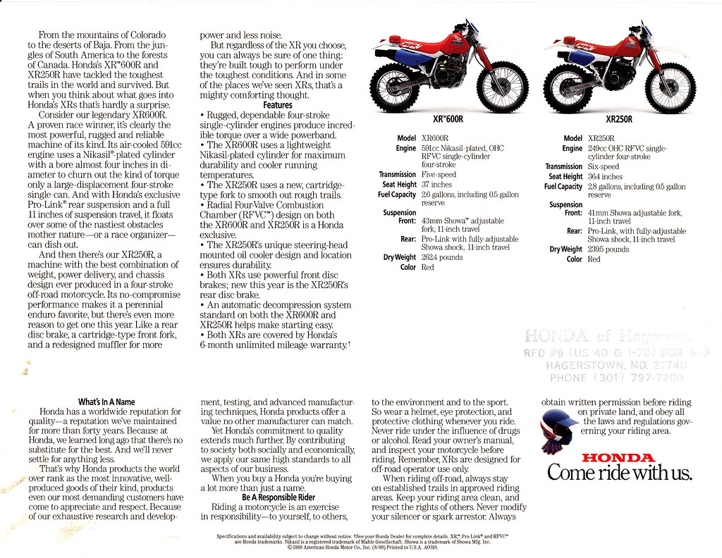 1991 Honda XR250R and XR600R Brochure Page 2 | Tony Blazier | Flickr