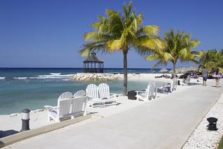 Blue skies, white sand, palm trees