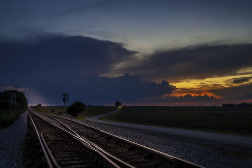 alabama sunset clouds railroad tracks limestone county rural road headlights travel transportation landscape hdr adobe lightroom countryliving choochoo train tonybarber canon eos 1ds