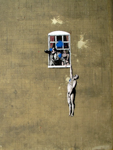 Banksy stencil, Bristol   by duncan