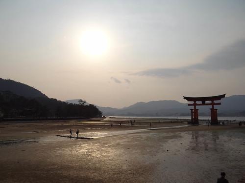 sunset mer japan japanese ile sacre hiroshima miyajima torii japon japonais couchersoleil marée