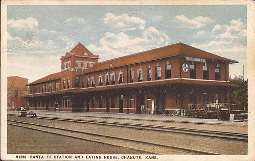 railroad station train postcard rail railway kansas depot chanute atsf santaferailway