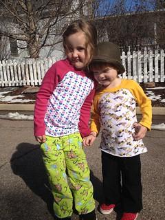 MADE pants and Raw edge raglan shirts on both kiddos