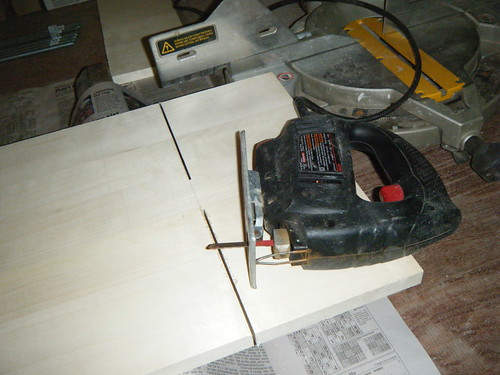 Sawing wood for shelves using jigsaw | by Preetha & James