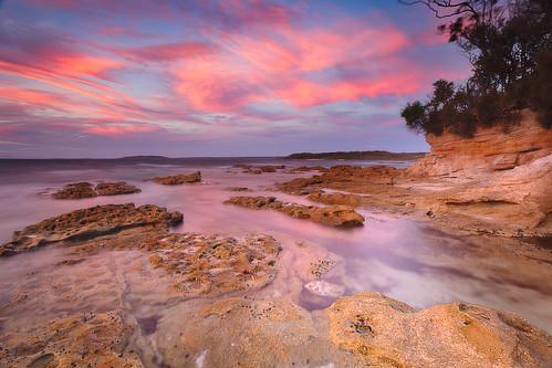 blue sunset red sea sun seascape color colour beach water beauty rock clouds sunrise sand australia nsw jervisbay