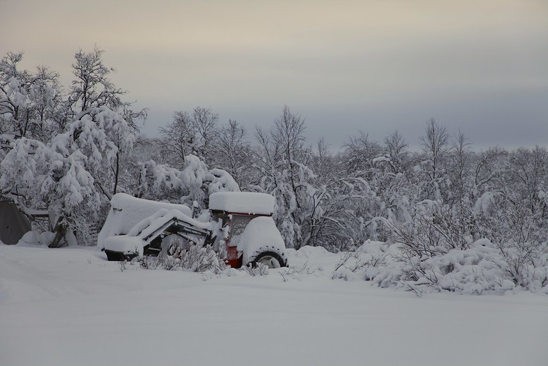 Tractor buried in the Snow