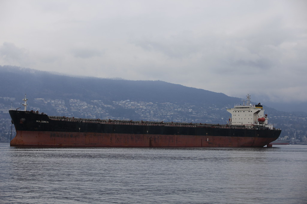 Ocean Tankers and Freighters in English Bay near Vancouver
