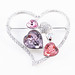 Dashing Hearts Dark Magenta & Pink Crystals Brooch