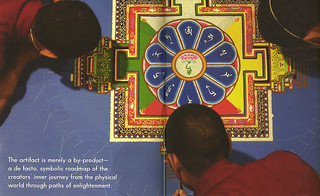 In 2004, monks from the Gaden Shartse Monastic College in Southern India visited Pomona College and created a ceremonial sand mandala in Smith Campus Center. Image from Pomona College Magazine.