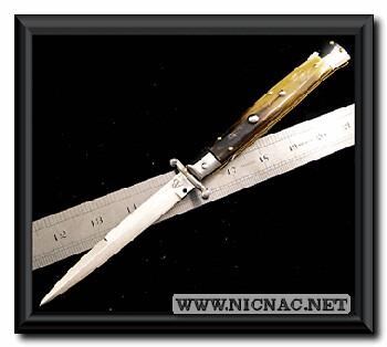 AB Switchblade Italian stiletto knife motor oil horn scale