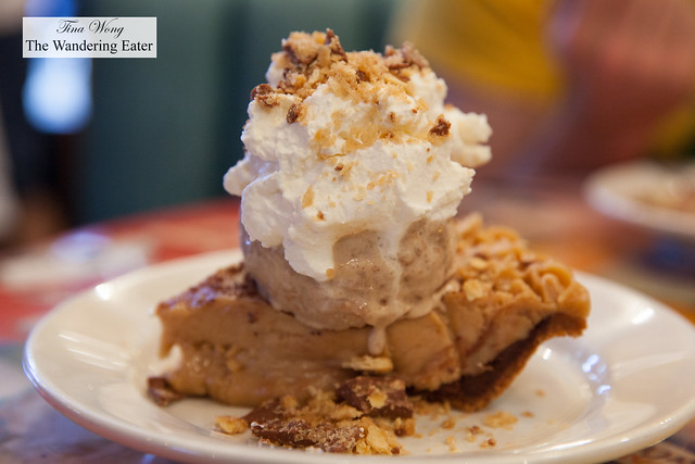Peanut Butter Pie, Nonna D's Oatmeal Lace ice cream, fresh whipped cream, peanut brittle