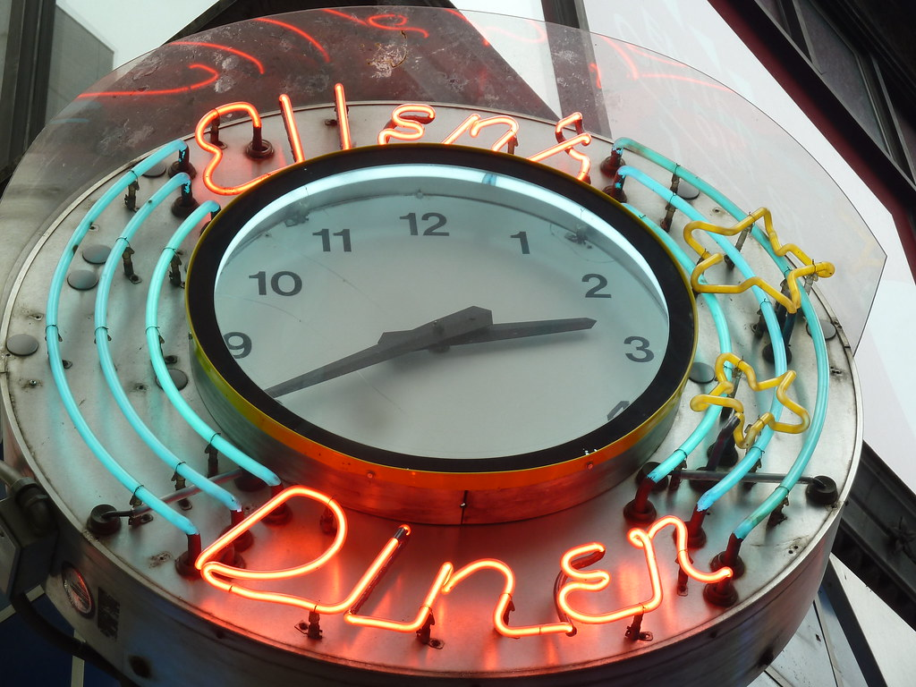 Ellen's Stardust Diner neon clock in New York, NY  | Flickr