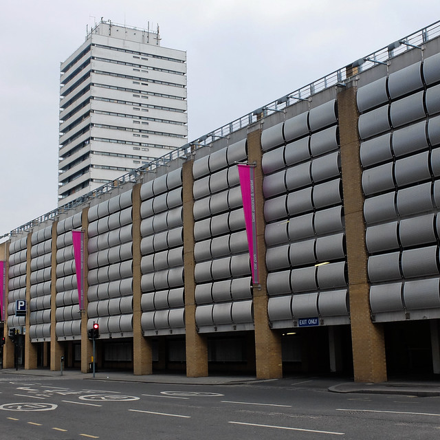 Sherbourne Arcade Car Park (2002) and Mercia House (1968) Queen Victoria Road, Coventry