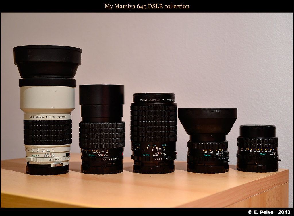 My Mamiya 645 lens collection for DSLR | Photo taken with my