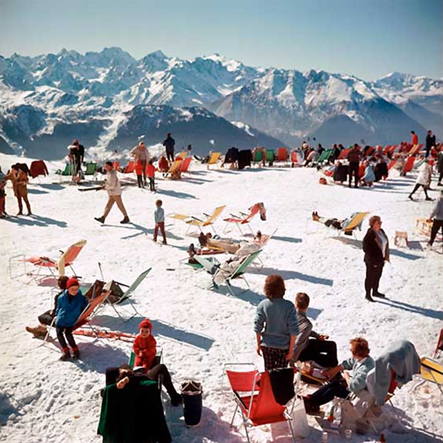 On A Mountaintop in Verbier in 1964 Taken by Slim Aarons