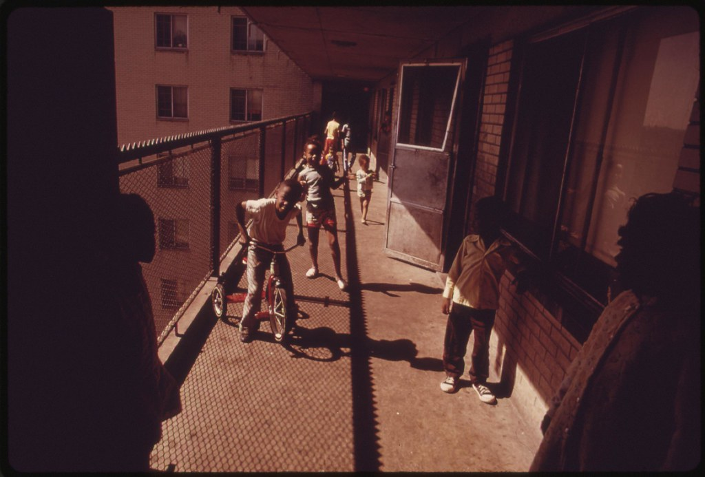 Black Residents On One Of The Balconies Of The Robert Tayl