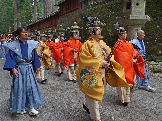 Les musiciens dans la procession Hyakumono-Zoroe Sennin Gyoretsu (Shunki reitaisai, Nikko)