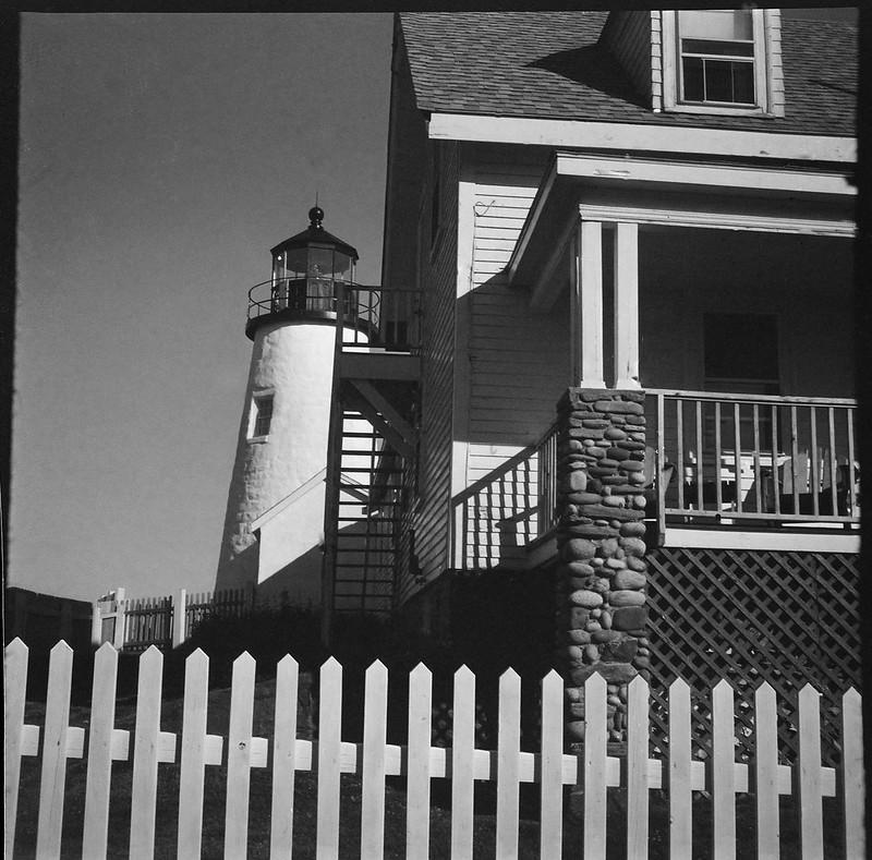 lighthouse, architecture, picket fence, Pemaquid Point, Maine, Zeiss Ikonta M, Kodak TMAX 400, Ilford Ilfosol 3 developer, 7.19.18