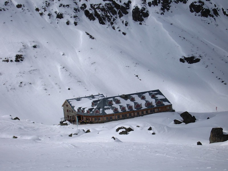 The Jamtal Hut: 180 beds, hot showers, beer on tap.