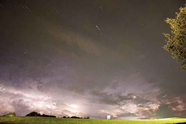 Summer lightning storm over Jackson Kayak building, White County, Tennessee 2