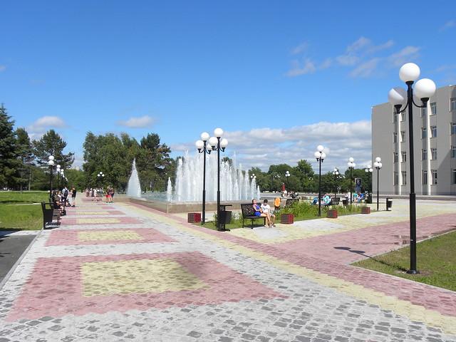 Theatre square, Komsomolsk-on-Amur, Far East, Russia