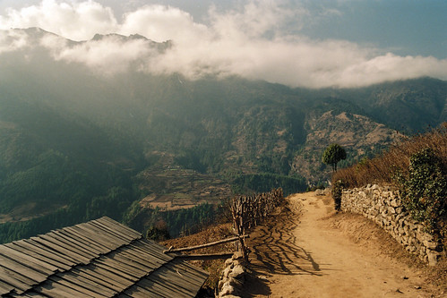 asia himalayas everestregion mountains film analog pentaxp30t highlands clouds winter travel sunny cloudy countryside nature landscape