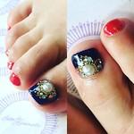 ビジューアート  ネイビー×赤  スタッズ追加は2粒100円  #nail #nails #ジェルネイル #ネイル #nailart #名古屋 #ネイルサロン #gelnail #amaranth #錦 #footnail #フットネイル #foot