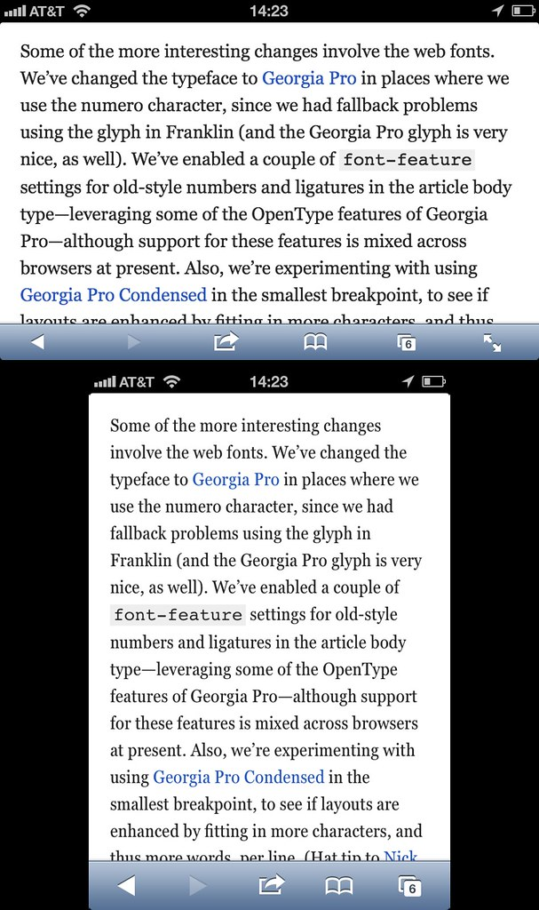 A List Apart responsively switches from Georgia Pro to Geo ...