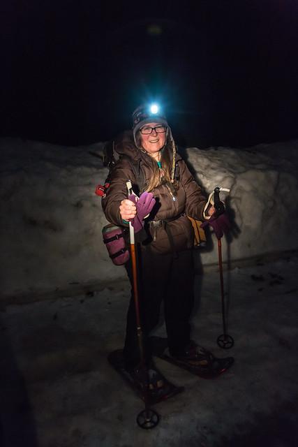 Karen Rentz with Headlamp at Mount St. Helens