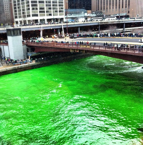 Chicago river being dyed green for St. Patrick's Day | by dougbelshaw