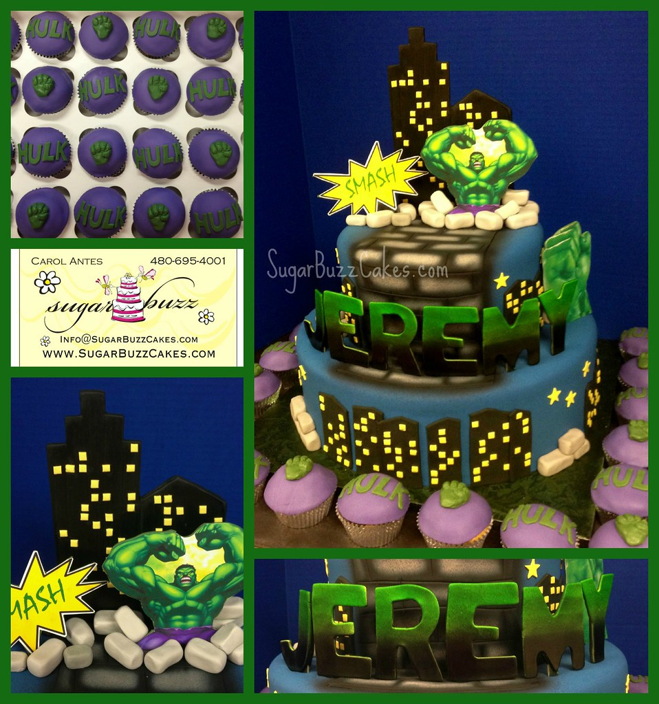 Phenomenal Incredible Hulk Birthday Cake A Photo On Flickriver Funny Birthday Cards Online Chimdamsfinfo