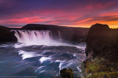 verde iceland godafoss waterfall cascada sunrise amanecer orange red rojo naranja agua water longexposure