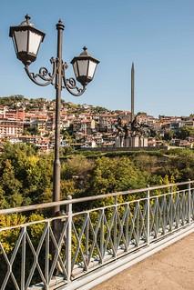 Iron Bridge and Monument of Bulgarian Kings in Veliko Tarnovo Bulgaria