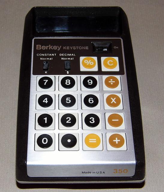 Berkey Keystone Personal LED Calculator, Orange Fluorescent Display, Model 350, Made in USA, Circa 1974