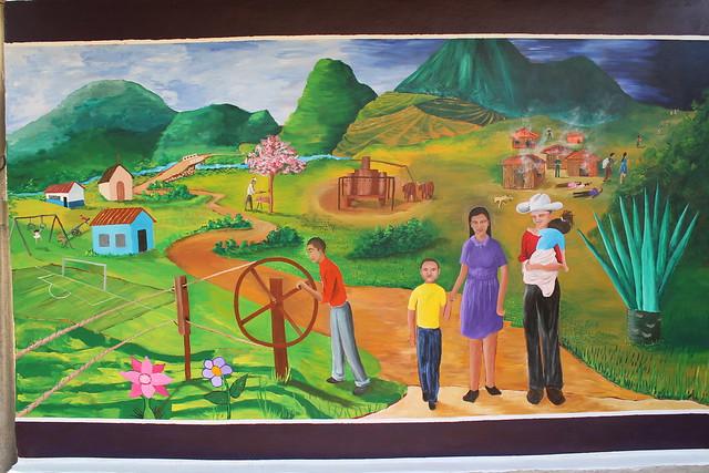MURAL COLABORATIVO EN COMUNIDAD LA JOYA, MEANGUERA, MORAZAN. 2013