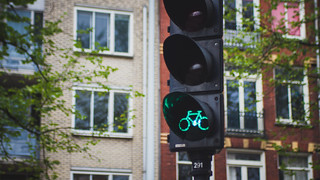 Bicycle traffic light, Amsterdam, Netherlands