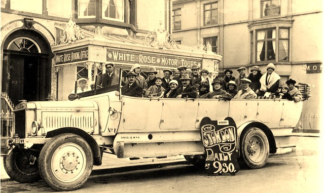 DM 1801 - Leyland M - charabanc (Ch28) - Brookes Bros., White Rose Motor Services, Rhyl, Flintshire, North Wales.