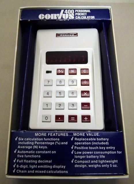 Corvus Model 400 LED Personal Pocket Calculator, 8-Digit Display, Circa 1974
