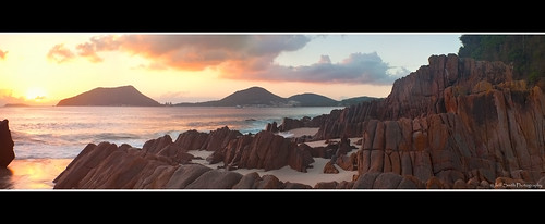 panorama seascape clouds sunrise canon reflections sand focus rocks australia panoramic lee nsw newsouthwales filters nelsonbay portstephens littlebeach cs5 leefilters freakydetail