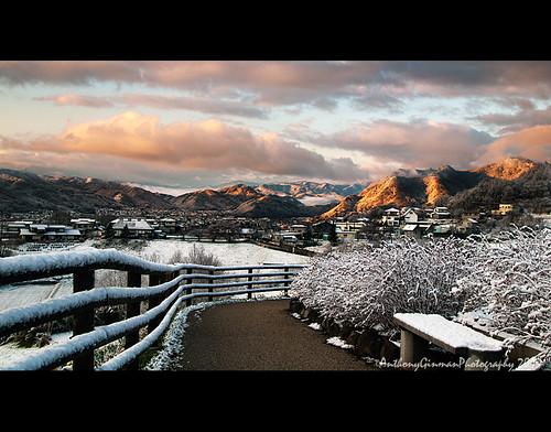 mountains japan sunrise path snowing ueda ongakumura