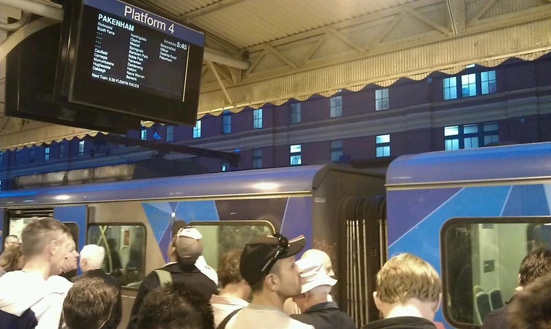 Footy crowds on 4+5 wait for a train to the north/west. What shows up? One to Pakenham.