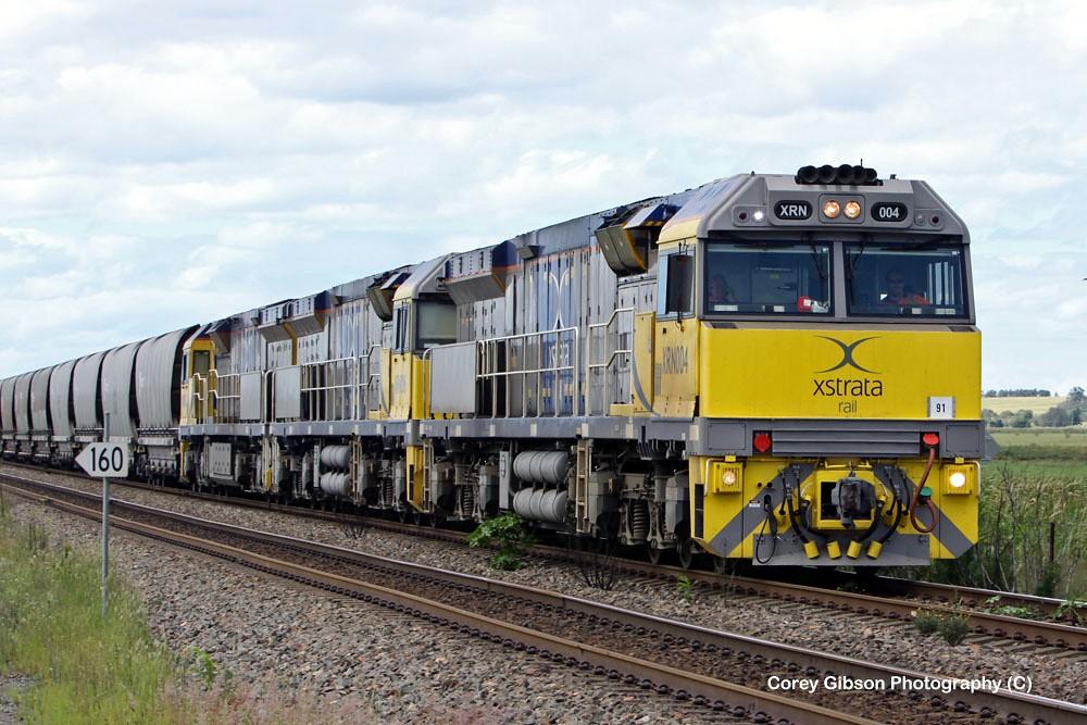 Xstrata Locomotives XRN004, XRN016 & XRN020 near Singleton by Corey Gibson