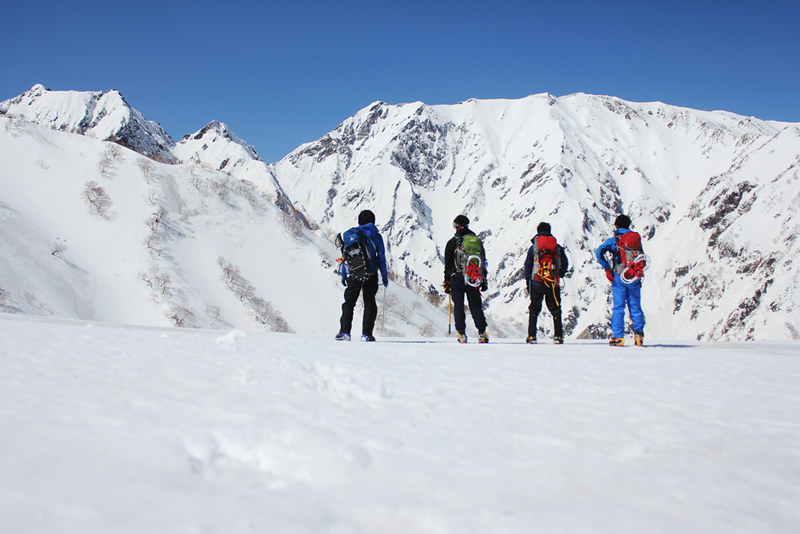 唐松岳 雪山登山 集合写真