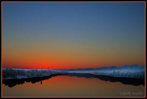 pink blue light ohio orange reflection sunrise river hdr proctorville