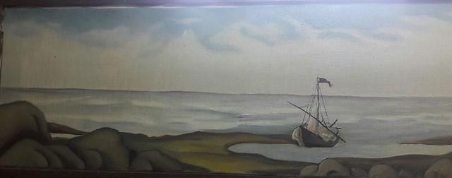 FISHING-BOAT  (Eggoiltempera painting)