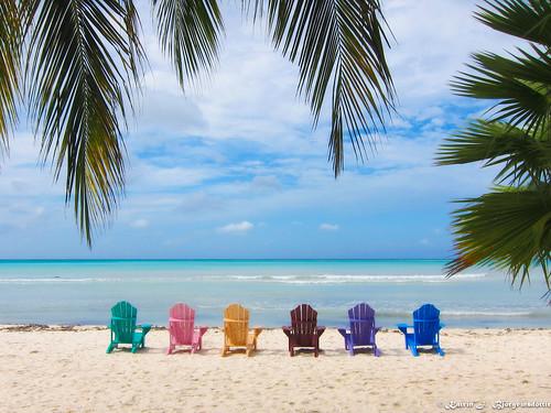 ocean pink blue sky cloud brown tree green colors yellow wonderful purple chairs aruba views stillnes katrínjbjörgvinsdóttir katrinjb