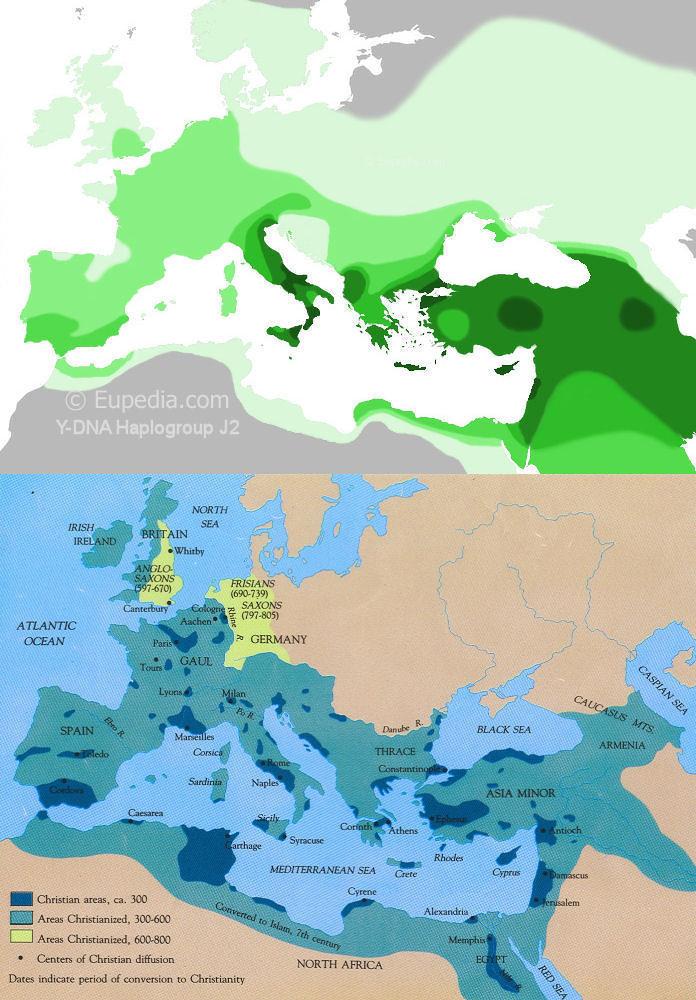 Haplogroup J2 M172 Distribution - Spread of Christianity